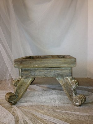 White Patina Wood Riser
