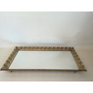 large gold filagree mirror tray