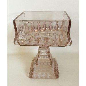 Sq. Lavender Glass Compote