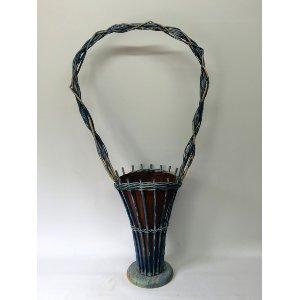 Vintage Blue Flower Basket