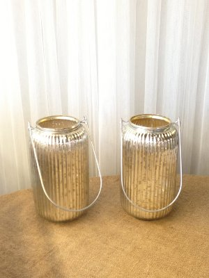 Ribbed Mercury Glass With Handles