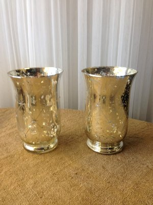 Diamond design mercury glass container