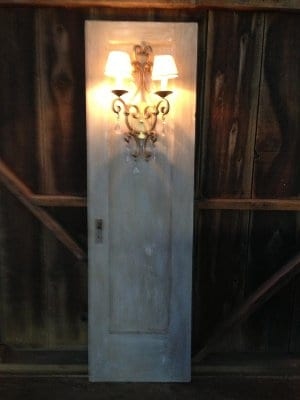 Door with mounted Wall Sconce