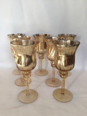 Short Gold Mercury Glass Pedestal Votives
