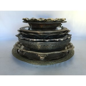 Round Silver Bowl Style platters