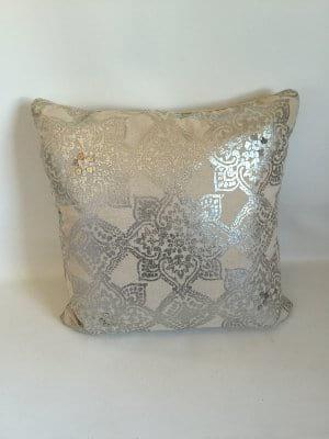 Silver printed linen pillow