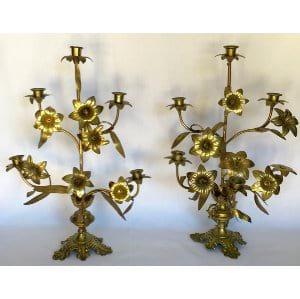 Ornate gold floral candelabra