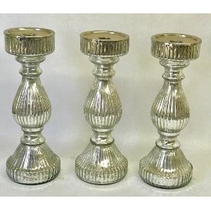Mercury Glass Candlestick 11.5
