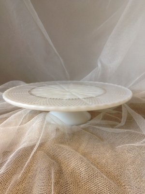 Milk Glass with Gold Trim Cake Plate
