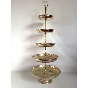 Silver tiered dessert stand