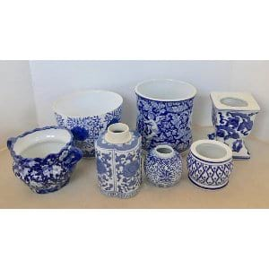BLUE AND WHITE CONTAINER