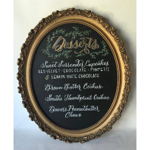 GAIL GOLD OVAL CHALKBOARD