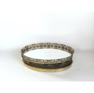 gold mirrored filagree oval tray 11