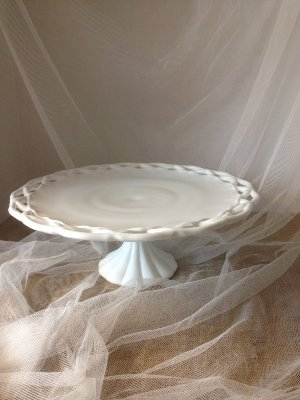 Woven Edge Milk Glass Cake Plate