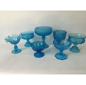GYPSY BLUE GLASS COMPOTES