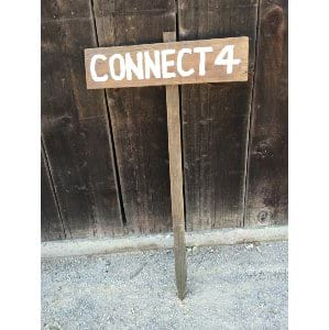 Connect 4 wood stake sign
