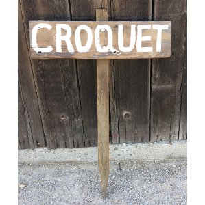 Small Wood Croquet Stake Sign