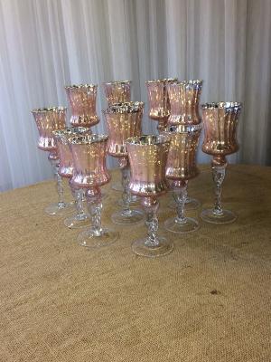 Pink Mercury Glass tall Vases/Votives