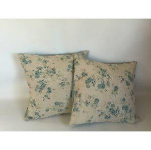 Aqua Floral Pillow