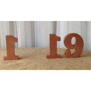 Copper Wood Table Numbers (1-19)