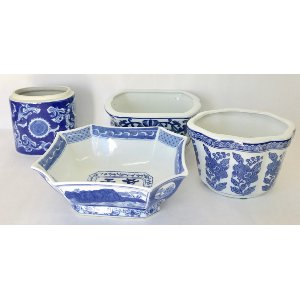 Assorted blue and white