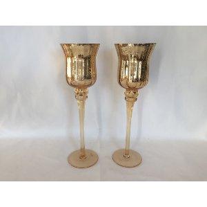 Tall Gold Mercury Glass Pedestal Votives