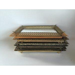 Rectanglar brass/gold mirrored tray