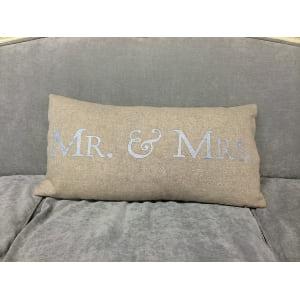 Mr. & Mrs. in Silver/Burlap Pillow