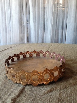 Gold Tray with decorative trim
