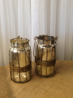 Mercury Glass with Wire Handles
