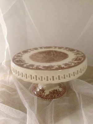 Brown and White Cake Plate