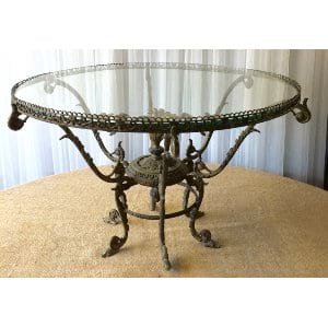 FARREN FRENCH GLASS TOP BRASS COFFEE TABLE