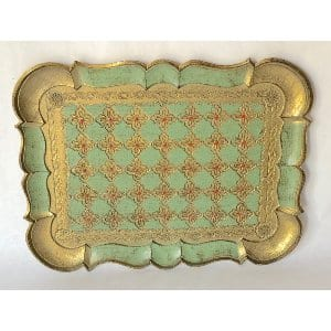 Green and gold Florentine tray