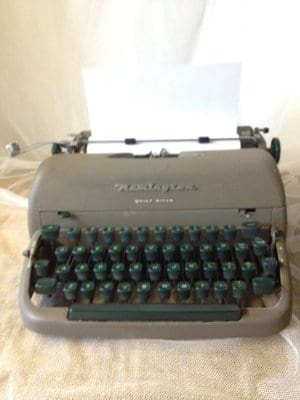 VINTAGE GRAY AND GREEN TYPEWRITER