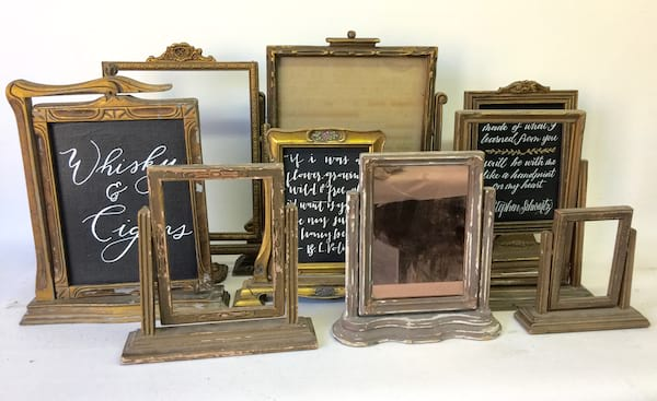 Vintage gold frame on stand