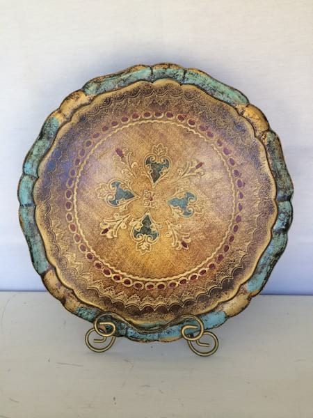 Fancy Round Florentine tray Blue, Brown and Gold