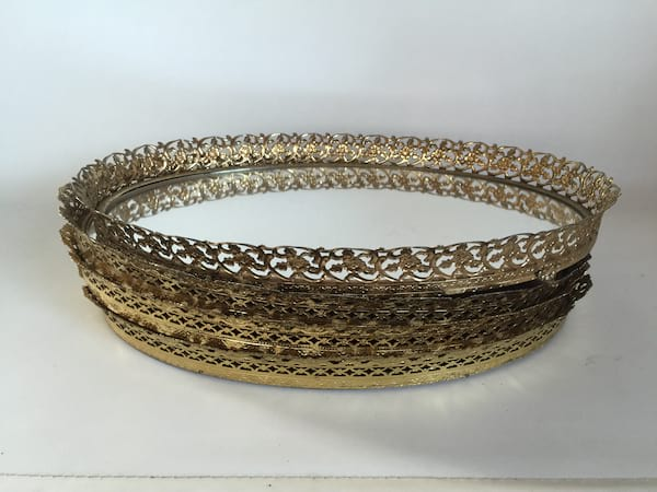 """Oval Gold Mirrored Tray 15"""""""
