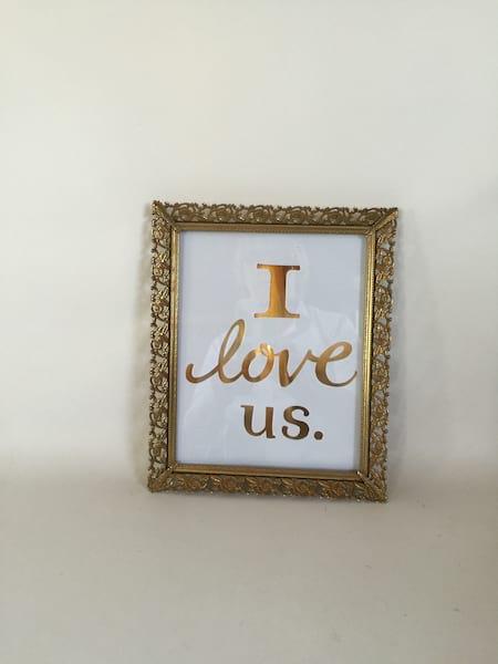 I Love Us in Gold Frame
