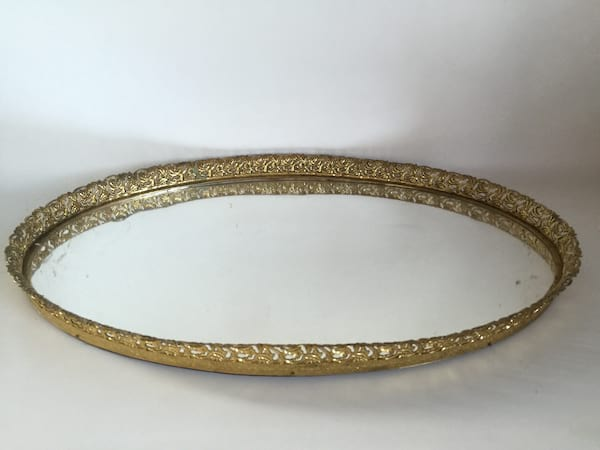 large gold mirrored tray 21""