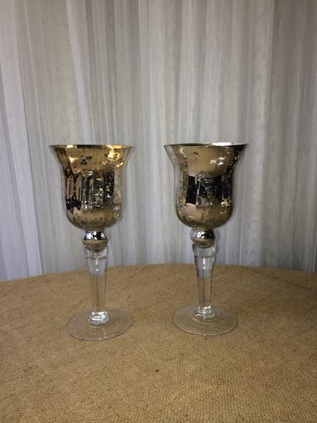 Gold Mercury Glass tall  Vases/Votives