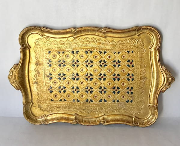 burgandy and navy florentine tray