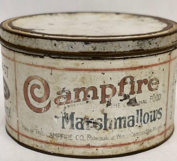 """WHITE """"CAMPFIRE"""" MARSHMALLOW TIN"""