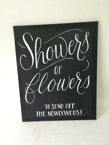 """SHOWERS OF FLOWERS"" CHALKBOARD SAYING"