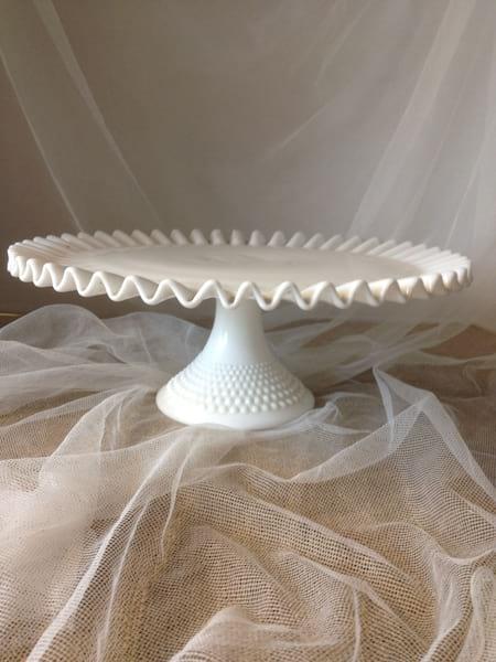 "Vintage Milk Glass Cake Plate 10"""