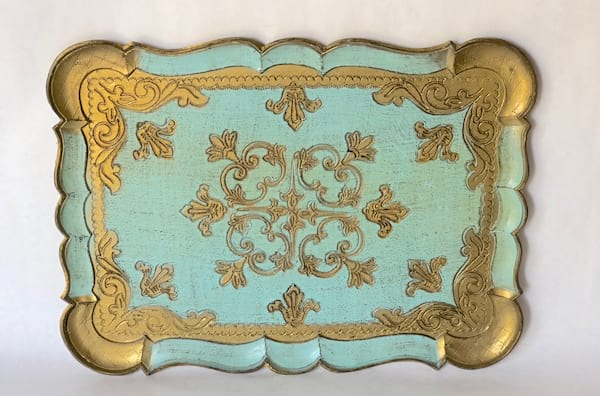 gold and aqua florentine tray