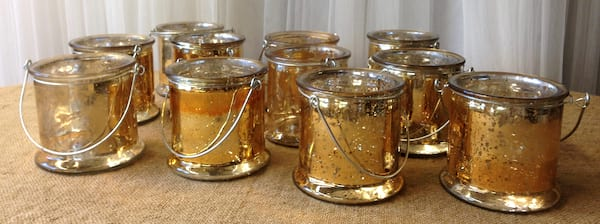 Gold Mercury Glass Hanging Vases/votives