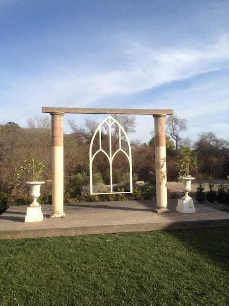 Antique Columns with Vintage Church Window