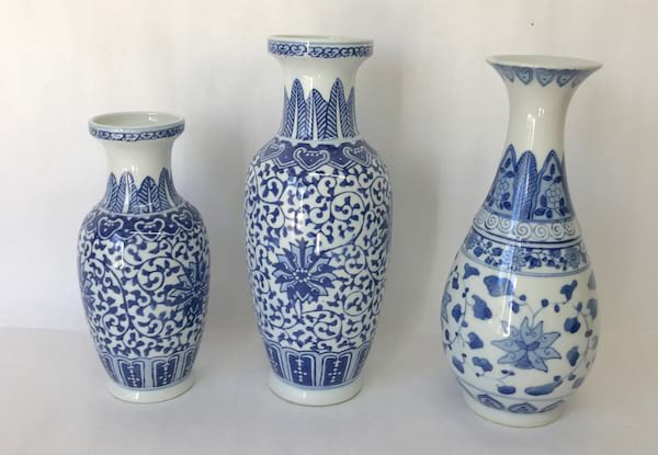 BLUE AND WHITE TALL VASE