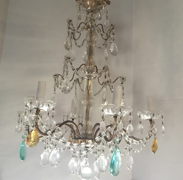 COURTNEY GOLD AND AQUA CHANDELIER
