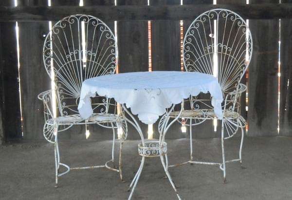 NATALIE WROUGHT IRON TABLE & CHAIRS SET